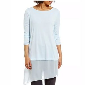 Eileen Fisher Bateau Neck Silk Asymmetrical Hem